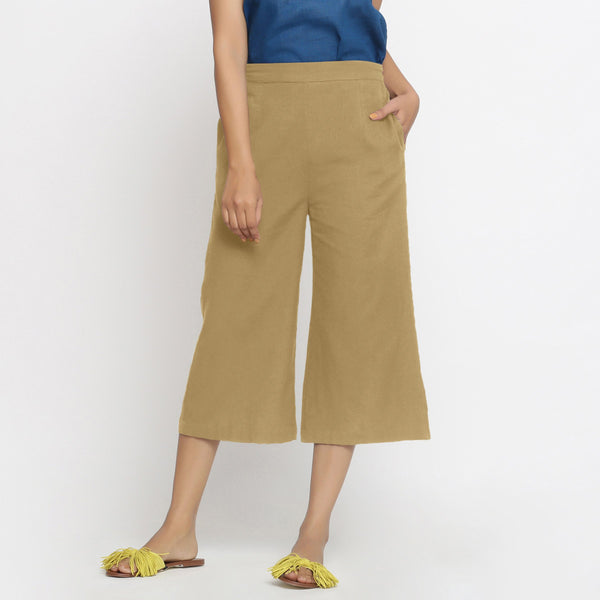 Front View of a Model wearing Light Khaki Mid-Rise Cotton Flax Culottes