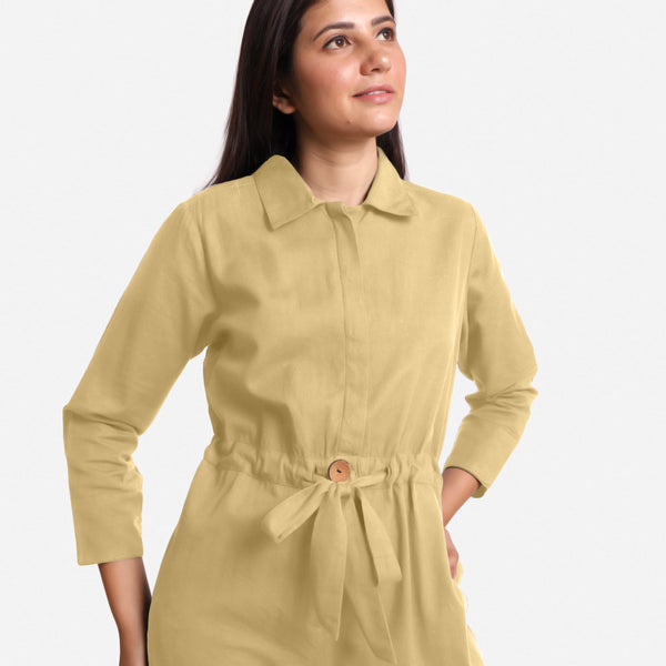 Front Detail of a Model wearing Light Khaki Wide Legged Cotton Overall