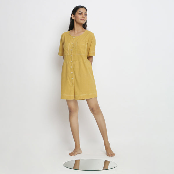Front View of a Model wearing Light Yellow Vegetable Dyed Romper