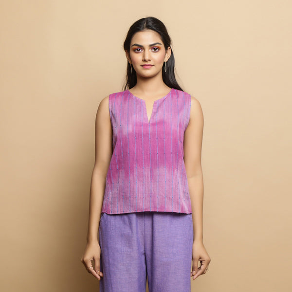 Front View of a Model wearing Lilac Cotton Keyhole Neck Godet Top
