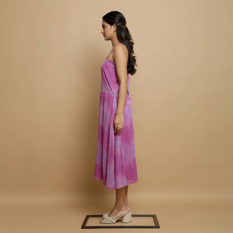 Left View of a Model wearing Lilac Cotton Strappy Godet Dress