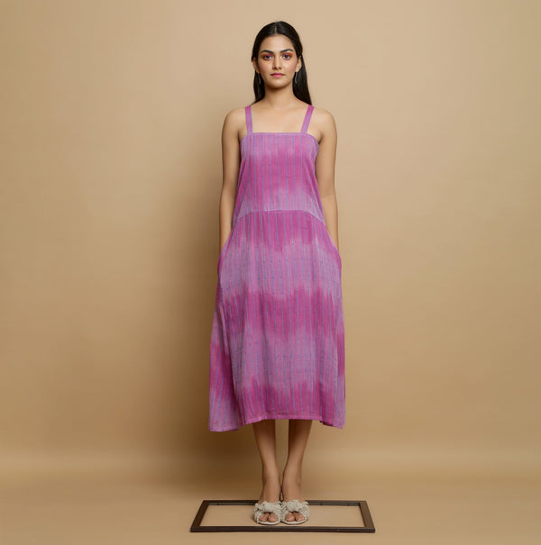 Front View of a Model wearing Lilac Cotton Strappy Godet Dress