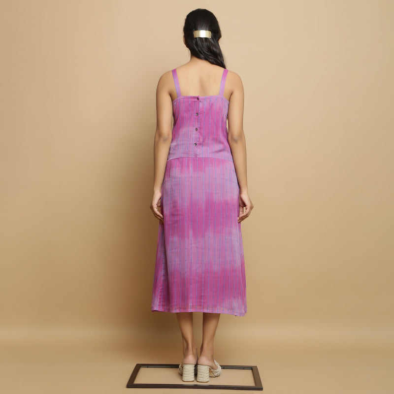 Back View of a Model wearing Lilac Cotton Strappy Godet Dress