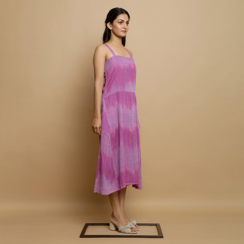 Right View of a Model wearing Lilac Cotton Strappy Godet Dress