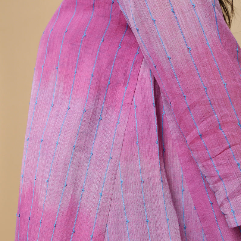 Left Detail of a Model wearing Lilac Handwoven Striped Button-Down Top