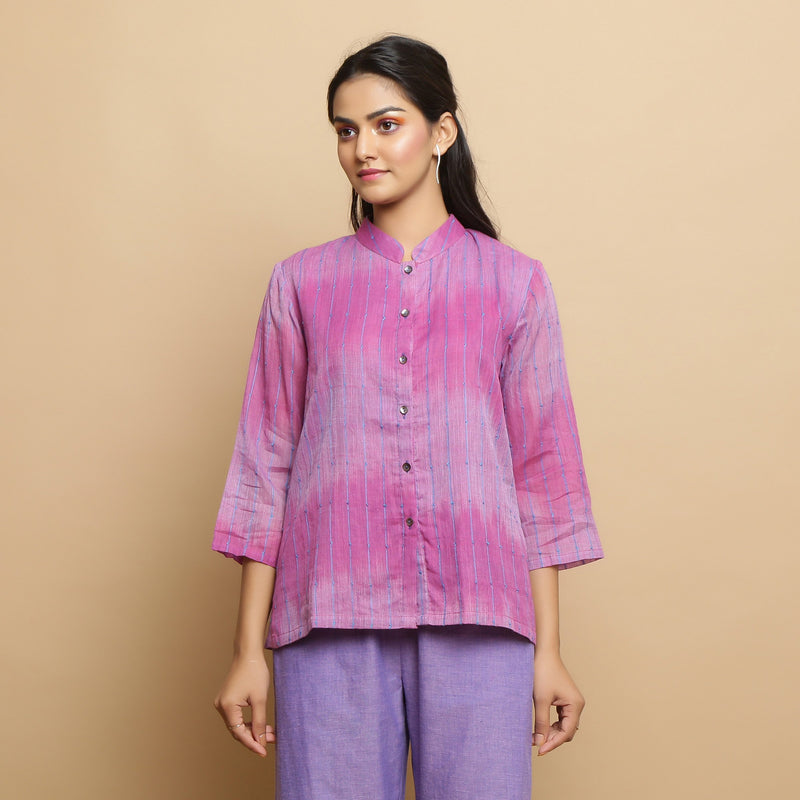 Front View of a Model wearing Lilac Handwoven Striped Button-Down Top