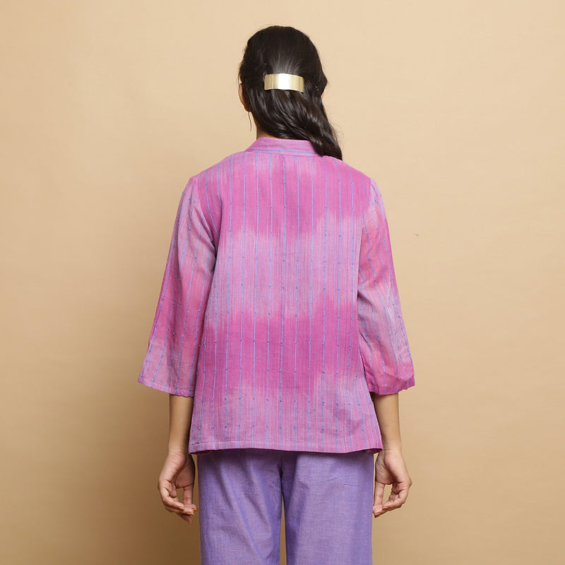 Back View of a Model wearing Lilac Handwoven Striped Button-Down Top