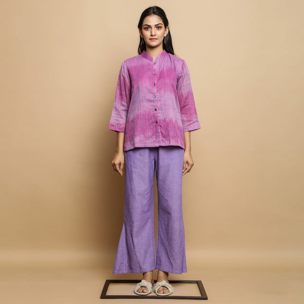 Front View of a Model wearing Lilac Handwoven Button-Down Godet Top