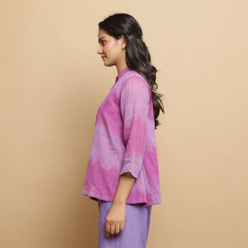 Left View of a Model wearing Lilac Handwoven Striped Button-Down Top
