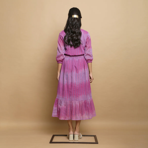 Back View of a Model wearing Lilac Handwoven Cotton Asymmetrical Dress