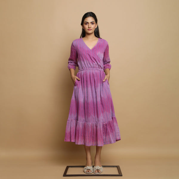 Front View of a Model wearing Lilac Handwoven Cotton Asymmetrical Dress