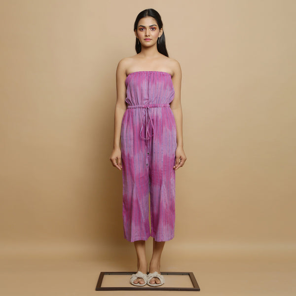Front View of a Model wearing Lilac Handwoven Godet Culottes Jumpsuit