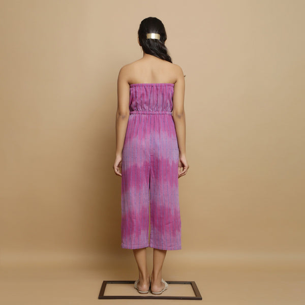 Back View of a Model wearing Lilac Handwoven Godet Culottes Jumpsuit