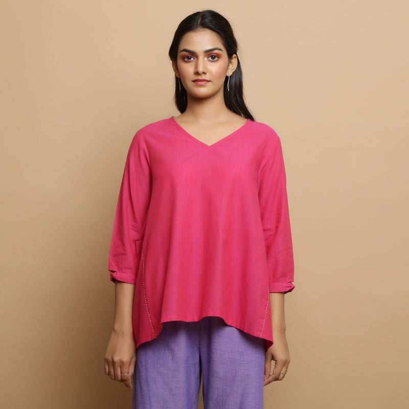 Front View of a Model wearing Magenta Mangalgiri Cotton Flared Top