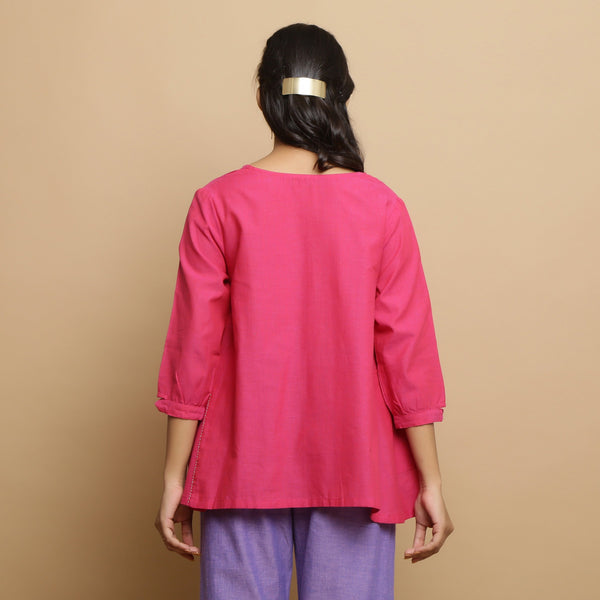 Back View of a Model wearing Magenta Mangalgiri Cotton Godet Top