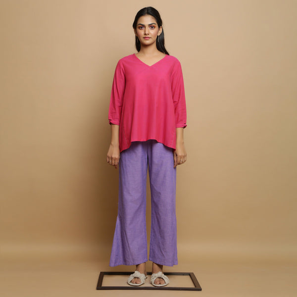 Front View of a Model wearing Magenta Mangalgiri Cotton Godet Top
