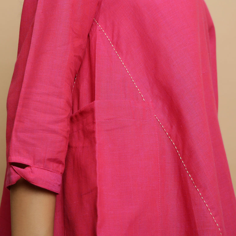 Right Detail of a Model wearing Magenta Mangalgiri Cotton Flared Top