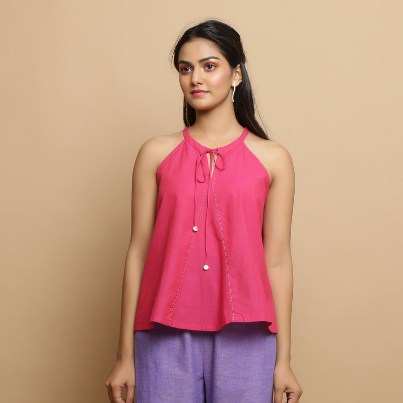 Front View of a Model wearing Magenta Mangalgiri Cotton Hand-Embroidered Flared Top