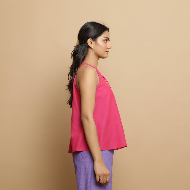 Right View of a Model wearing Magenta Mangalgiri Cotton Hand-Embroidered Flared Top