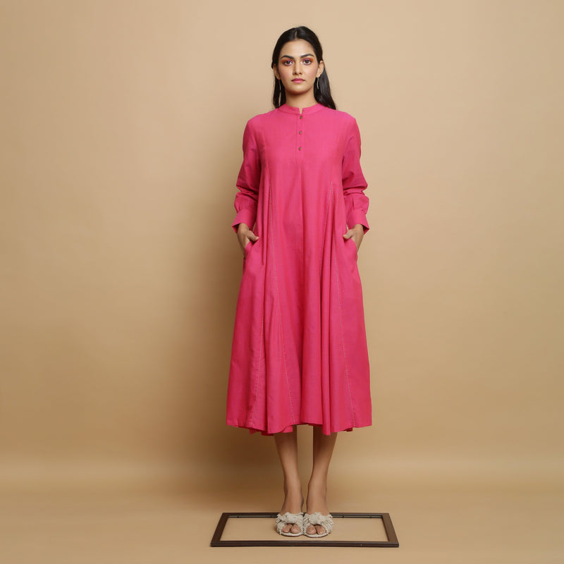 Front View of a Model wearing Magenta Mangalgiri Cotton Hand-Embroidered Godet Dress