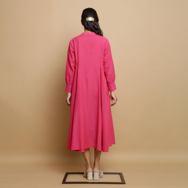 Back View of a Model wearing Magenta Mangalgiri Cotton Hand-Embroidered Godet Dress