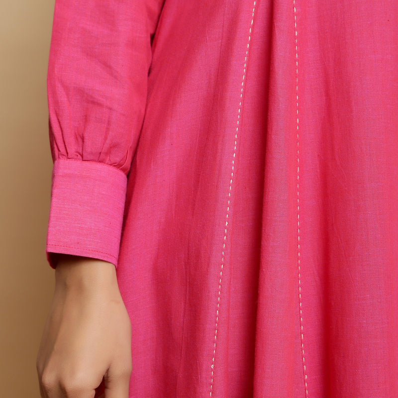Close View of a Model wearing Magenta Mangalgiri Cotton Hand-Embroidered Godet Dress