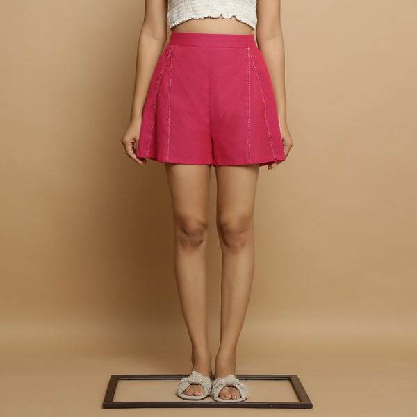 Front View of a Model wearing Magenta Mangalgiri Cotton Mid Rise Shorts