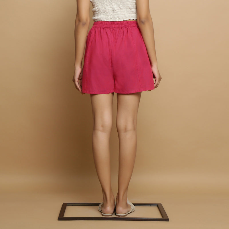 Back View of a Model wearing Magenta Mangalgiri Cotton Mid Rise Shorts