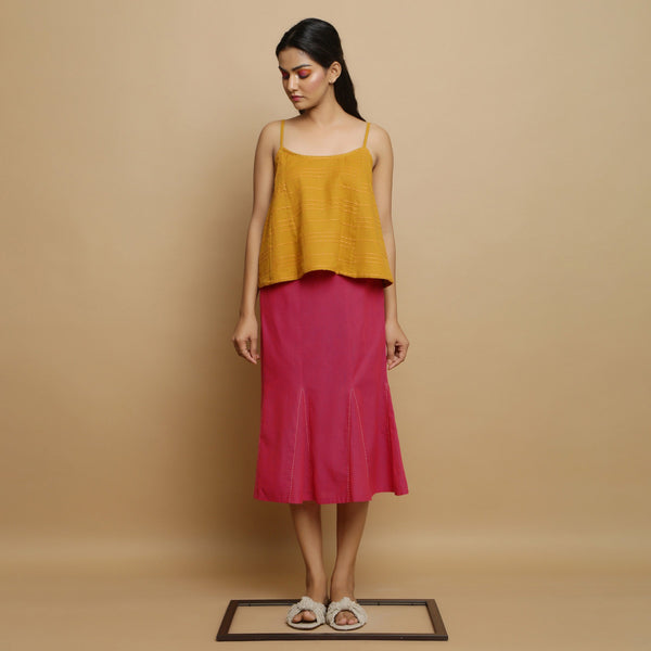 Front View of a Model wearing Magenta Mid Rise Mangalgiri Cotton Skirt