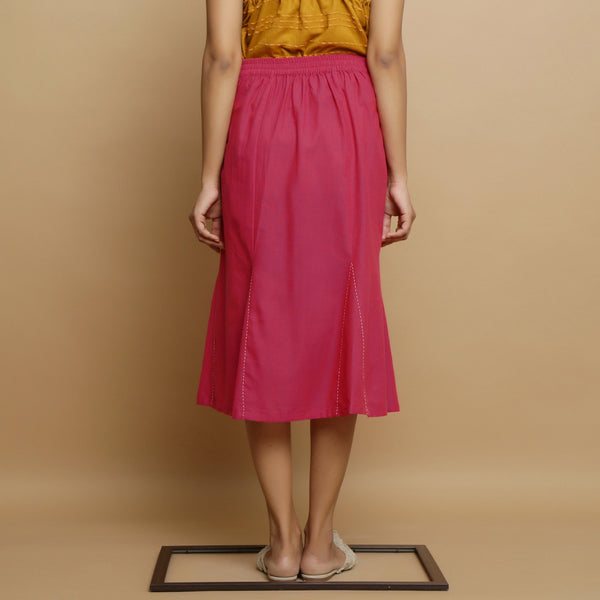 Back View of a Model wearing Magenta Mid Rise Mangalgiri Cotton Skirt