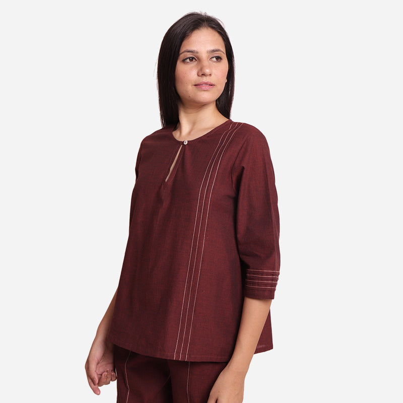Left View of a Model wearing Brown Mangalgiri Cotton Tunic Top