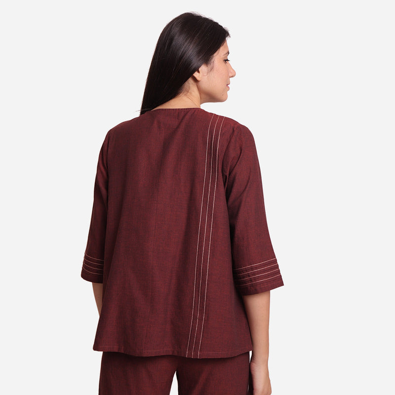 Back View of a Model wearing Brown Mangalgiri Cotton Tunic Top