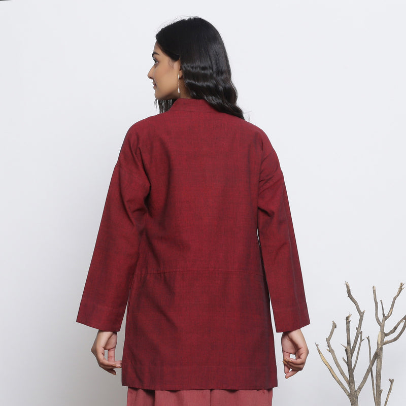Back View of a Model wearing Maroon Handspun Button-Down Outerwear