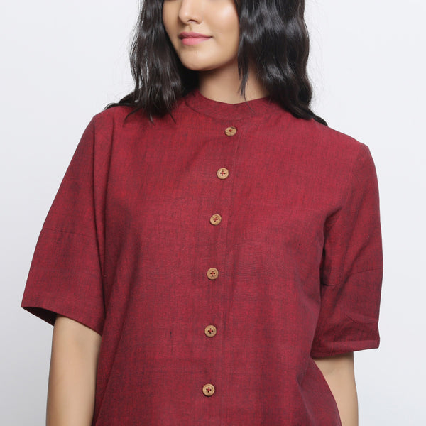 Front Detail of a Model wearing Maroon Handspun Button-Down Top