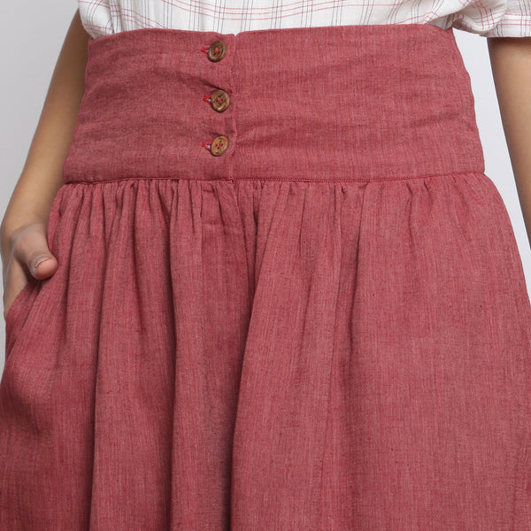 Front Detail of a Model wearing Maroon Handspun Flared High Rise Pant