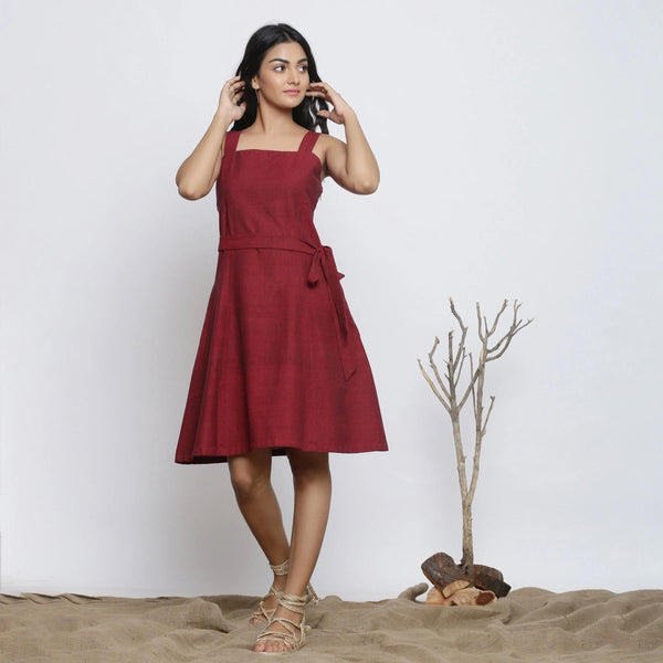 Front View of a Model wearing Maroon Handspun Knee Length Dress
