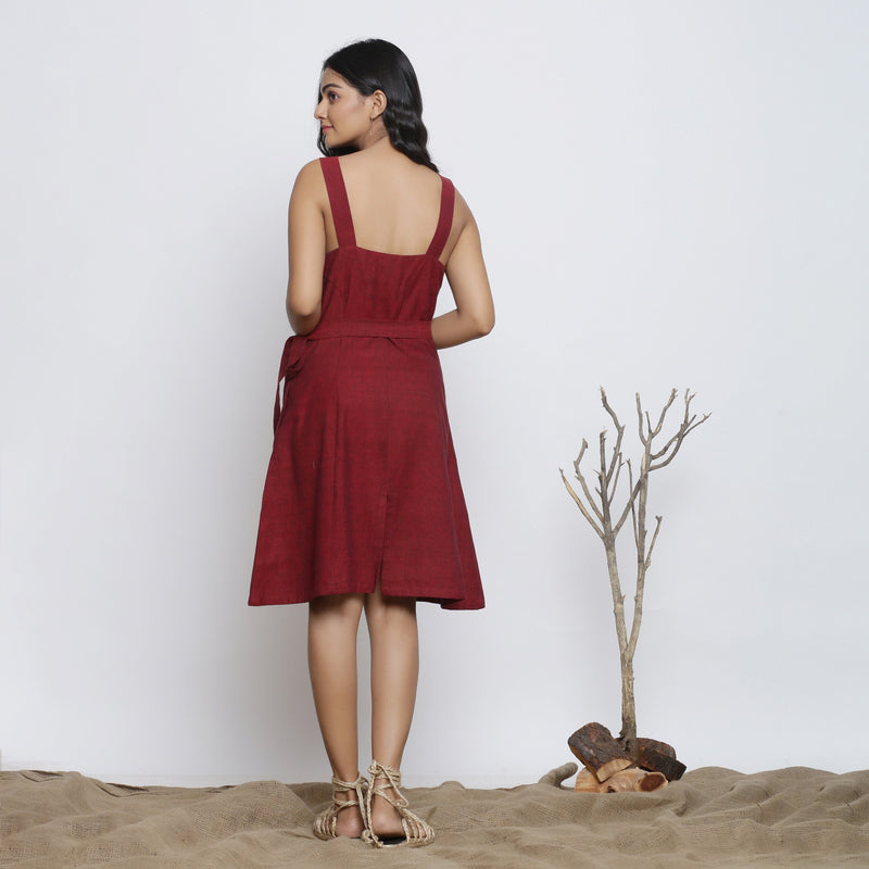 Back View of a Model wearing Maroon Handspun Knee Length Dress