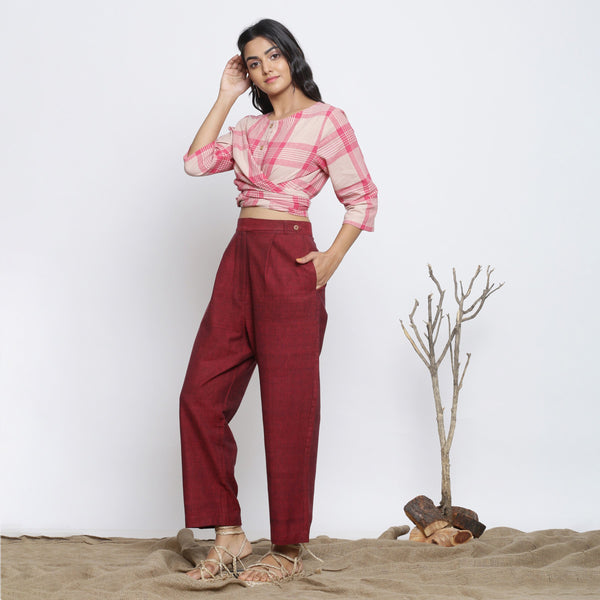 Left View of a Model wearing Maroon Handspun Straight Pant