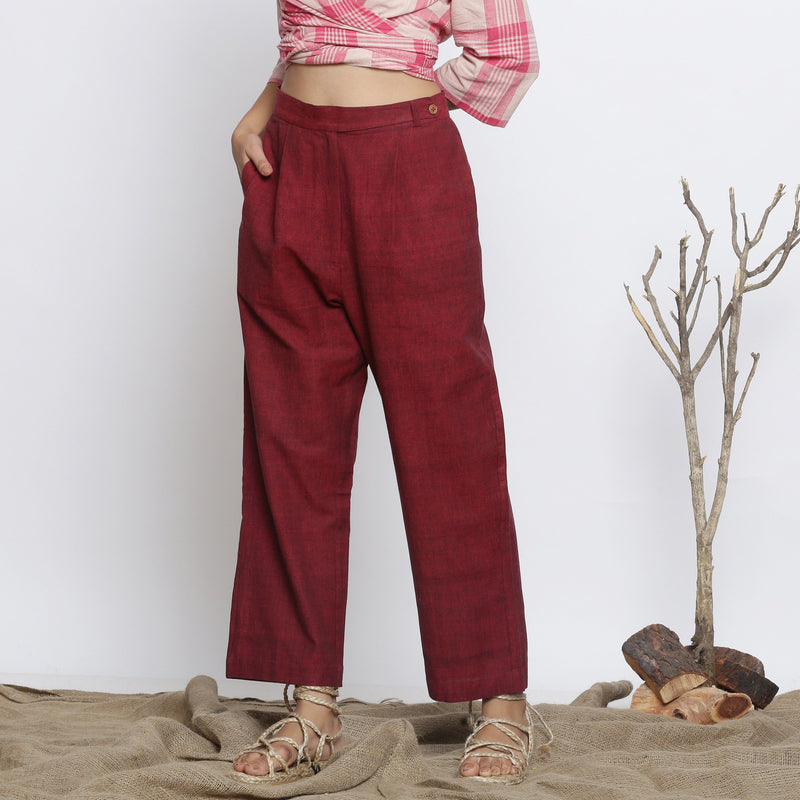 Front View of  a Model wearing Maroon Handspun Straight Fit Pant