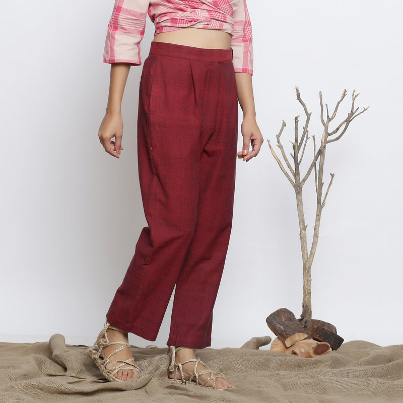 Right View of a Model wearing Maroon Handspun Straight Fit Pant
