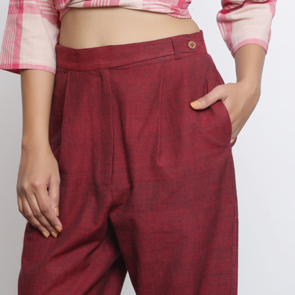 Front Detail of a Model wearing Maroon Handspun Straight Fit Pant