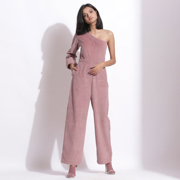 Front View of a Model wearing Mauve Corduroy One-Shoulder Jumpsuit