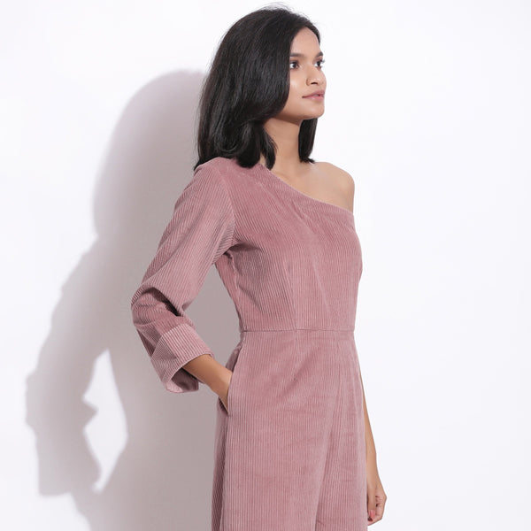 Right View of a Model wearing Mauve Corduroy One-Shoulder Jumpsuit