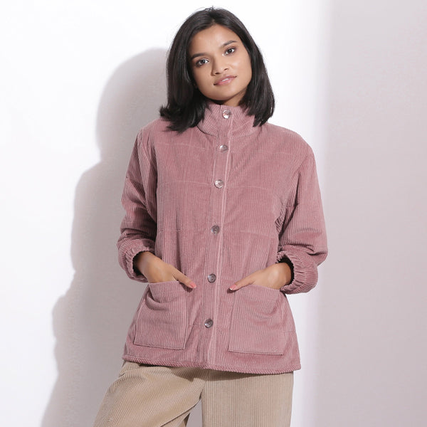 Front View of a Model wearing Mauve Corduroy Quilted Puffer Jacket