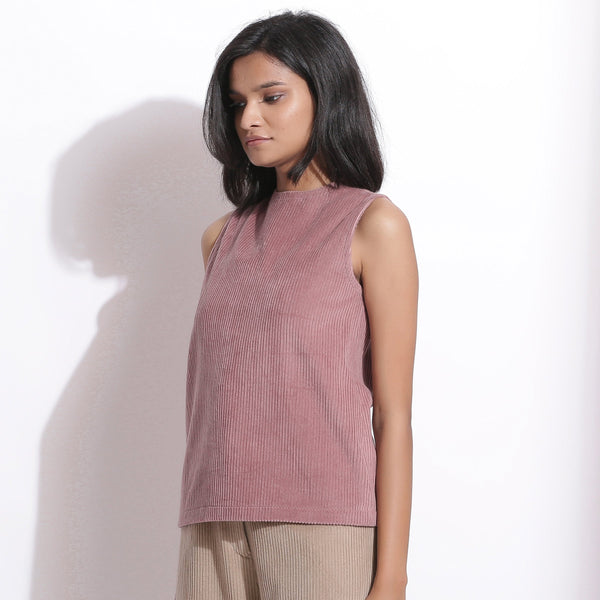 Left View of a Model wearing Mauve Cotton Corduroy Funnel Neck Top