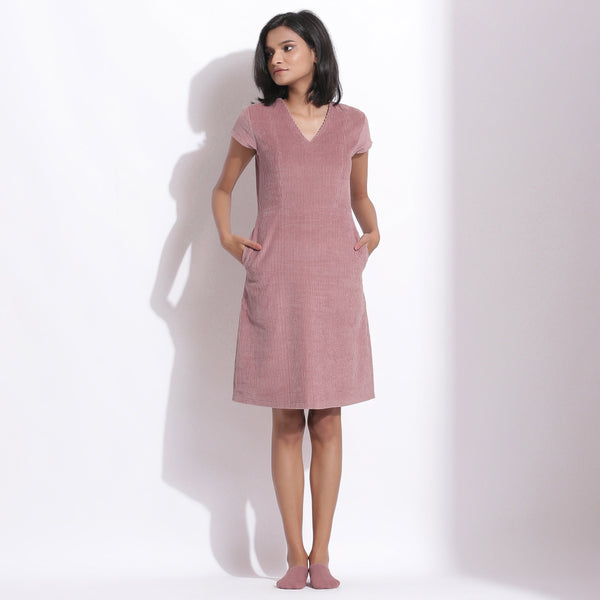 Front View of a Model wearing Mauve Cotton Corduroy V-Neck Dress