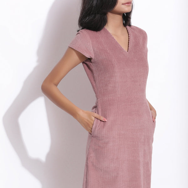 Front Detail of a Model wearing Mauve Cotton Corduroy V-Neck Dress