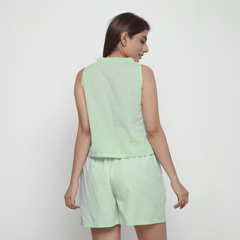 Back View of a Model wearing Mint Green Cotton Ruffled A-Line Top