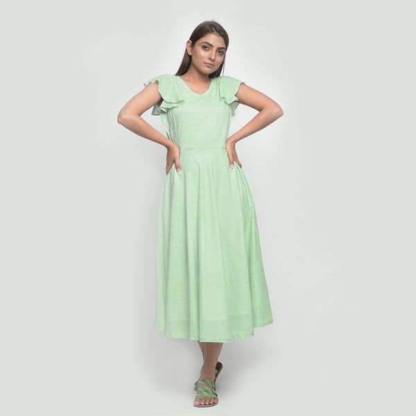 Front View of a Model wearing Mint Green Cotton Chambray Fit and Flare Dress