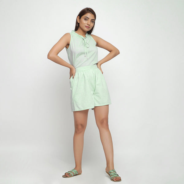 Front View of a Model wearing Mint Green Cotton Chambray Short Shorts